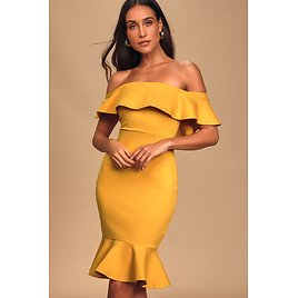 Confidence Boost Mustard Yellow Off-the-Shoulder Bodycon Dress