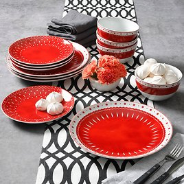 Mainstays Red and White 12-Piece Dinnerware Set (2 Styles)