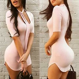 Womens Slim Fit O-Neck Bodycon Half Sleeve Evening Party Cocktail Mini Dresses
