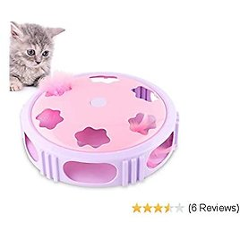Petbobi Interactive Cat Toys Timer with Bell Spinning Rotating Feather for Cat Entertainment Feather Teaser Cat Toy, Training or Hunting Teaser & Exerciser Kitten Toys Catching Game (battery Included)