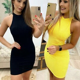 Sexy Summer Sleeveless Solid Women's Dress Casual O Neck Backless Slim