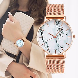 Fashion Rose gold mesh band creative marble woman wrist watch luxury women Quartz watches gifts Relogio Feminino direct delivery