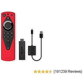 Fire TV Essentials Bundle Including Fire TV Stick, Remote Cover (Red) and USB Power Cable