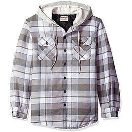 Wrangler Authentics Men's Long Sleeve Quilted Lined Flannel Shirt Jacket with Hood: Clothing