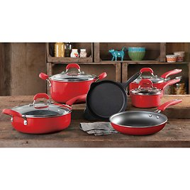 The Pioneer Woman Vintage Speckle & Cast Iron 10-Piece Non-Stick Cookware Set, Red