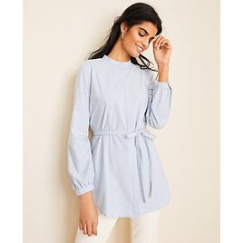 Striped Poplin Tie Waist Tunic Shirt | Ann Taylor EXTRA 50% OFF! DISCOUNT APPLIED AT CHECKOUT