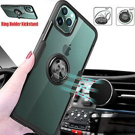 For IPhone 11 Pro Max Case Clear Transparent Shockproof Cover Finger Ring Holder
