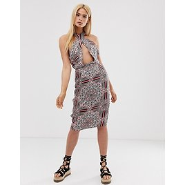 Missguided Tall Cross Front Halterneck Midi Dress in Paisley Print   ASOS