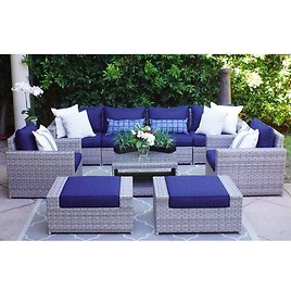 Kordell 9 Piece Rattan Sectional Seating Group with Cushions
