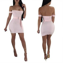 Women Off Shoulder Bodycon Club Party Cocktail Mini Package Hips Rib Dress