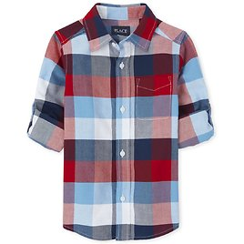 ☆up to 50% Off☆Boys Check Oxford Button Down Shirt