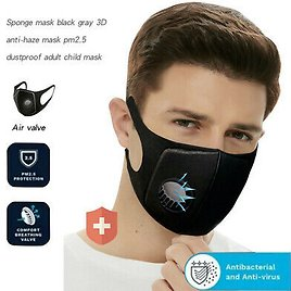 Breathable Mask Washable Face Mouth Masks with Valves Protection Black