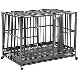 """XXL 48"""" Heavy Duty Pet Dog Cage Strong Metal Crate Kennel Playpen w/ Wheels&Tray"""