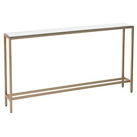 Silver Orchid Ham Long Narrow Console Table with Mirrored Top - Gold