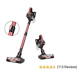 APOSEN Cordless Vacuum Cleaner, 18000Pa Strong Suction Detachable Battery, 250W Powerful Brushless Motor, 1.2L Super-Capacity 4 in 1 Stick Vacuum Cleaner for Deep Cleaning H250 (Red)