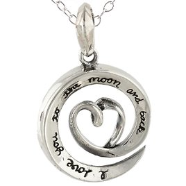 """Sterling Silver Love You To The Moon and Back Swirl Necklace, 18"""" Chain"""