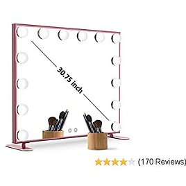 Nitin Lighted Vanity Mirror with Touch Control Design, Hollywood Style Makeup Mirrors with Lights, Tabletop or Wall Mounted Vanity Mirrors (Rose Gold)