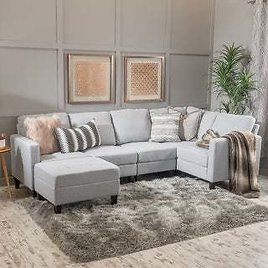 Zahra 6-piece Fabric Sofa Sectional with Ottoman By Christopher Knight Home - Navy Blue
