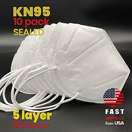 [10 PACK] KN95 SEALED Disposable Safety Face Mask Cover CE Certified Respirator