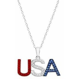 """Red, White & Blue 'USA' Pendant With Swarovski Crystals in Sterling Silver, 18"""""""