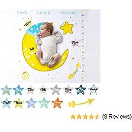 Mamimore Organic Baby Monthly Milestone Blanket for Boy Girl Unisex Photography Background Blankets with Milestone Cards Soft Cotton Props for Newborns Baby (Moon)