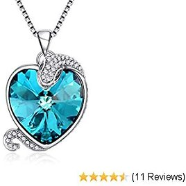Snake Jewelry Necklace Blue Heart Crystal Birthday Anniversary Pendant Necklace for Women Wife Girl Gift