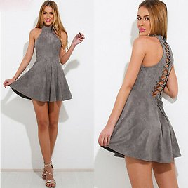 Women Summer Holiday Strappy Hollow Out Ladies Beach Party Cocktail Mini Dress