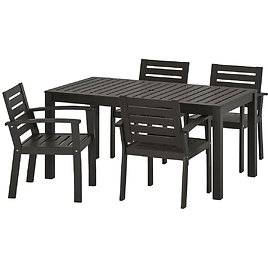 KLÖVEN Table and 4 Armchairs, Outdoor, Black-brown