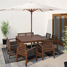 ÄPPLARÖ Table,6 Armchairs+bench, Outdoor, Brown Stained