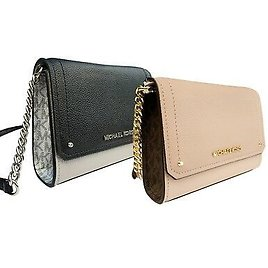 Michael Kors Hayes Small Clutch Crossbody Bag Pink Brown Signature Black Silver