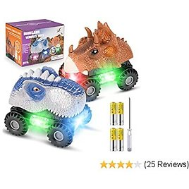RenFox Dinosaur Cars with 4 Batteries and 1 Screwdriver, 2 Pack Dino Cars for Kids with Lights and Sound for Boys Girls Toddlers Birthday
