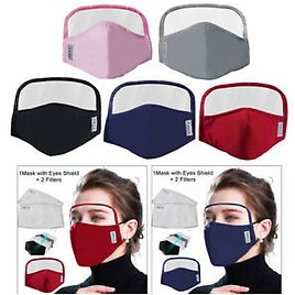 Washable Mouth Mask Cotton Dustproof Face Protective Mask with Clear Eye Shield