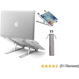 Upgraded Laptop Stand, Licheers Adjustable Aluminum Notebook Stand for Desk with Magnet, Portable Foldable Laptop Holder Compatible with All 10-15.6in Laptops (Silver)