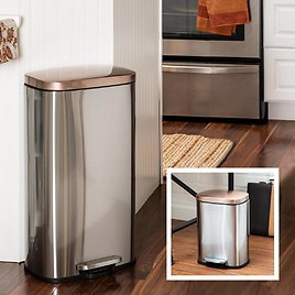 Honey-Can-Do Rectangular 30L & 5L Step Trash Can Combo - Rose Gold