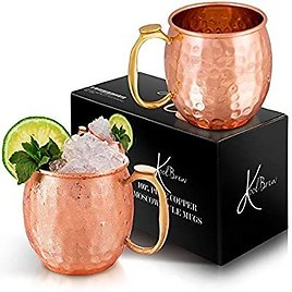 KoolBrew Moscow Mule Copper Mugs - Gift Set of 2, 100% Solid Handcrafted Copper Cups - 16 Ounce Food Safe Hammered Mug For Mules