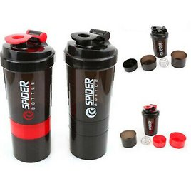 600ml Three Layer Shake Protein Shaker Mixer Cup Sports Drink Water Whisk Bottle