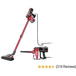 MOOSOO Vacuum Cleaner, 17KPa Strong Suction 3 in 1 Corded Stick Vacuum for Hard Floor with HEPA Filters, D600