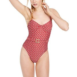 Danielle Belted Star-Print One-Piece Swimsuit