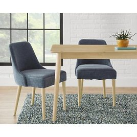 StyleWell Benfield Natural Wood Upholstered Dining Chair with Charleston Blue Seat (Set of 2)