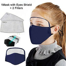 Children Windproof Outdoor Face Protective Face Mask with Eyes Shield+ 2 Filters
