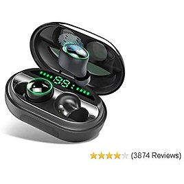 Wireless Earbuds, Bluetooth 5.0 Headphones IPX8 Waterproof Earbuds, 80 Playtime, in Ear Headphones with Microphone, Deep Bass Ear Pods 3D Stereo Sound, Noise Canceling, Sports, Work Out, Easy Pairing