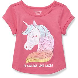 Baby And Toddler Girls Short Rolled Sleeve Embellished Graphic Top