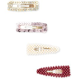 Girls Sequin And Pearl Hair Clip 4-Pack
