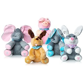 """Interactive Sing & Play 9.5"""" Plush Elephant, Dog, Bunny, or Pig Toy"""