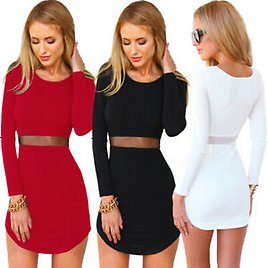 Sexy Women Long Sleeve Bodycon Casual Party Evening Cocktail Short Mini Dress