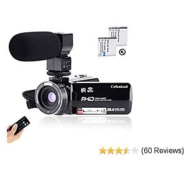 """CofunKool Camcorder 1080P 26MP Video Camera WiFi Vlogging Camera for YouTube, 270° Flipping 3.0"""" IPS Touch Screen, IR Night Vision, with Microphone Remote Control, Support USB, TV Output"""