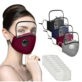 Adults Washable Reusable PM2.5 Face Mask With 2 Filter And Detachable Eye Shield