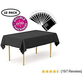 """Plastic Tablecloth 12 Pack Disposable Rectangle Table Covers - 54"""" X 108"""" for Big Dinner Tables - Indoor or Outdoor Parties, Birthdays, Weddings, Christmas, Fiestas (Black Double Thickness)"""