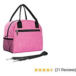 Comgrow Leakproof Large& Durable Lunch Bag for Women Men Adults, Fashionable Insulated Cooler & Thermal Lunch Box with Detachable Shoulder Strap and 4 Side Pockets for Work, School, Outdoor