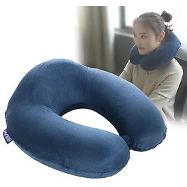 Travel Pillow 100% Pure Memory Foam Neck Pillow, Comfortable & Breathable Cover, Machine Washable, Airplane Travel Kit